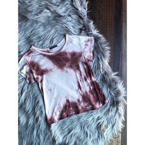 Brandy Melville Aeryn Peach Tie Dye Cropped Tee